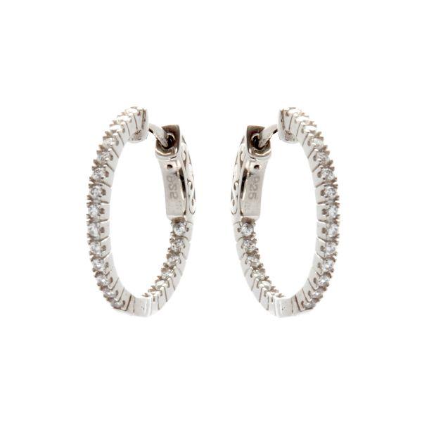 Picture of Sybella Jewellery Rhodium 20cm cz Hoop Earrings
